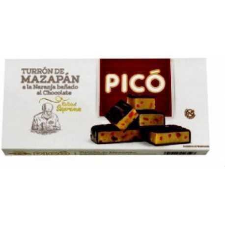 PICÓ 66 Turrón de Chocolate de Mazapán a la Naranja Bañado al Chocolate Calidad Suprema 200 g.