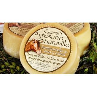 Queso  de Saravillo semicurado de vaca y cabra (550 gr)